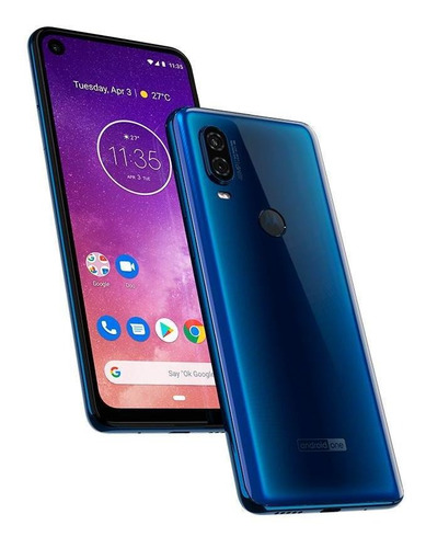 smartphone moto one vision azul safira 6,3  128gb 48mp