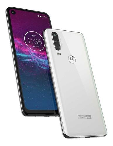 smartphone motorola one action tela 6,3  android 9.0 câmera tripla 128gb branco polar