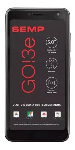 smartphone semp go 3e, preto 5 8gb, câmera 5+8 mp 3g
