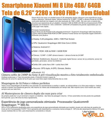 smartphone xiaomi mi 8 lite 4gb/64gb dual capa pelicula nfe