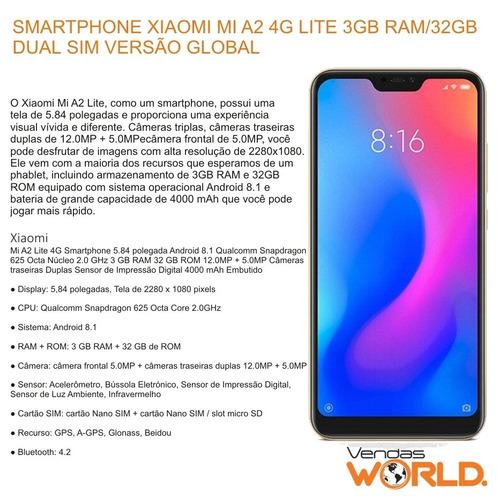 smartphone xiaomi mi a2 lite global 3gb ram 32gb p/ entrega