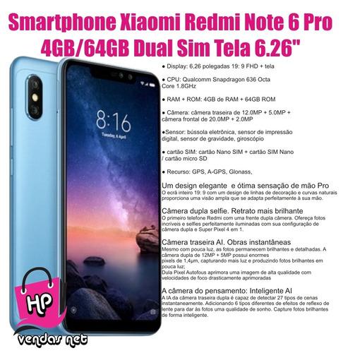 smartphone xiaomi redmi note 6 pro dual 64gb ips 6.26 global