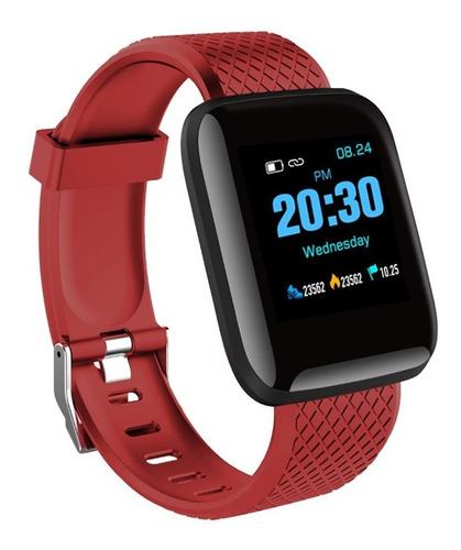 smartwatch d13  relógio inteligente vermelho