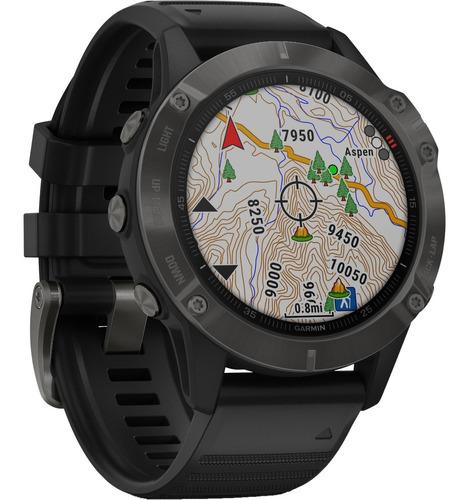 smartwatch gps garmin fenix 6 pro safira cinza hrm 47mm topo