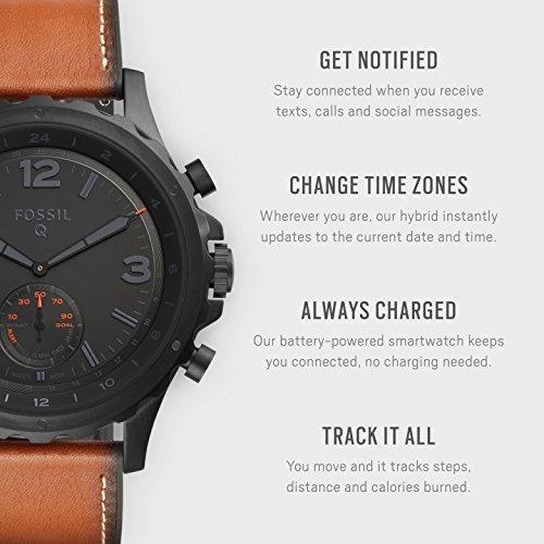 smartwatch híbrido fósil - q nate cuero marrón oscuro