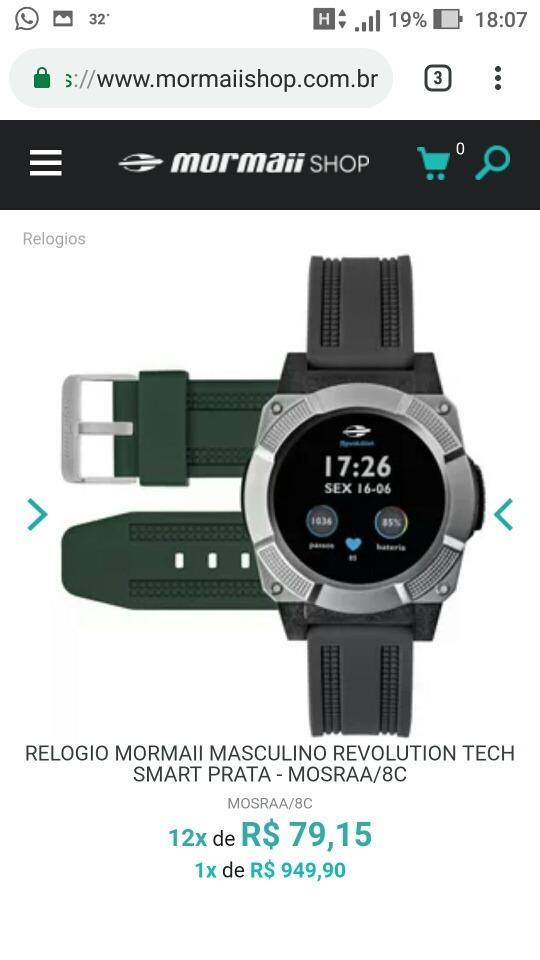 fc639555b10b7 smartwatch mormaii revolution. Carregando zoom.