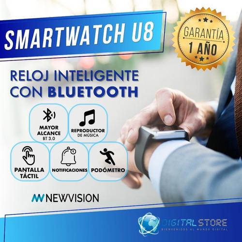 smartwatch reloj inteligente celular u8 android apple iphone deportes newvision