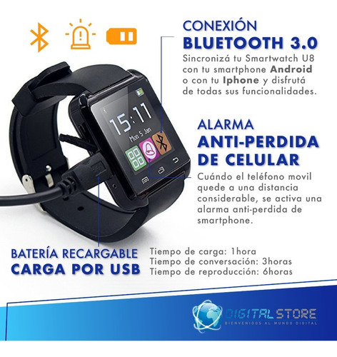 smartwatch reloj inteligente celular u8 android apple iphone deportes newvision + cuotas