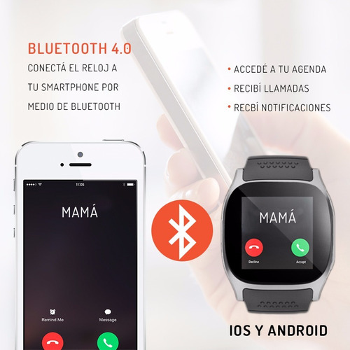 smartwatch reloj inteligente comp. samsung android m26 ttp