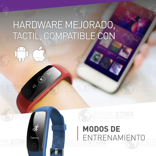 smartwatch reloj inteligente sumergible cardio id107 plus celular android apple iphone fit band deportes newvision