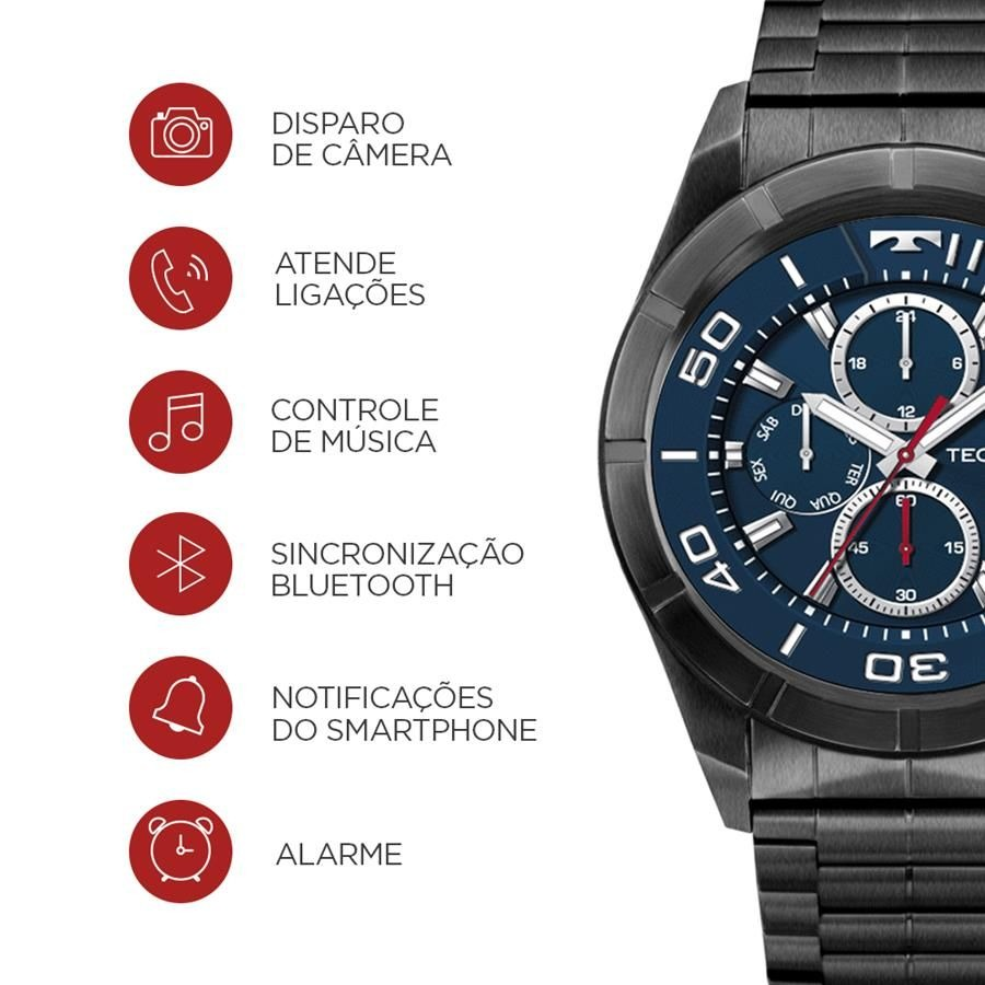 e14c99b1f316b smartwatch technos ref  srac 4p connect black full display. Carregando zoom.
