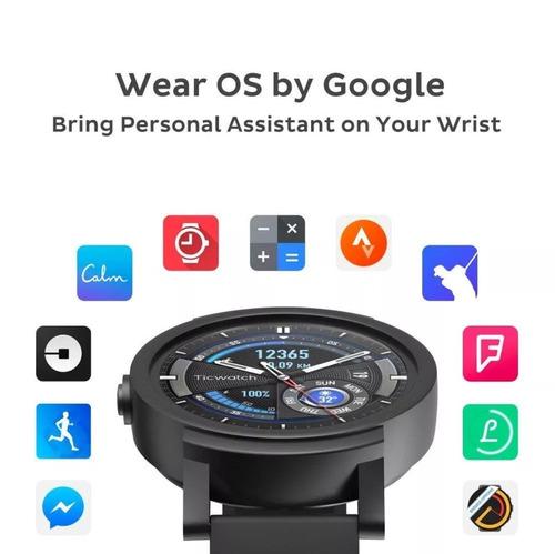 smartwatch ticwatch e negro, wifi, podómetro, gps, cardio