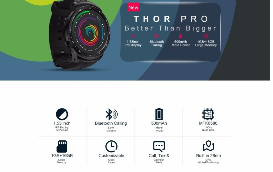 Smartwatch Zeblaze Thor Pro 3g 1g/16g Pronta Entrega
