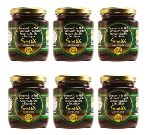 smells mel própolis/agrião/eucalipto 300g (kit c/06)
