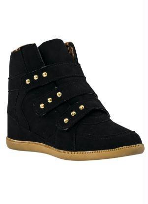8e7628555 Sneaker Feminino Bota Tenis Preto- Velcro Salto Removivel - R  179 ...