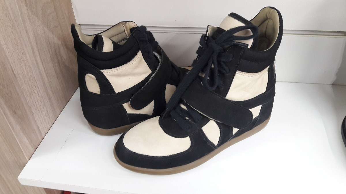 9c0559bdd4 Sneakers Couro Legitimo Preto E Bege 36