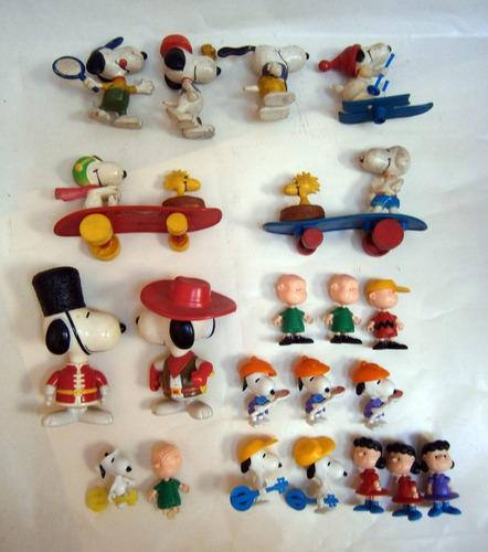 snoopy lote 19 muñecos decada 80 + huevo kinder + mcdonalds