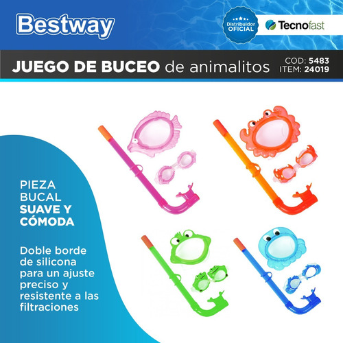 snorkel buceo bestway set lentes animalitos infantil 24019