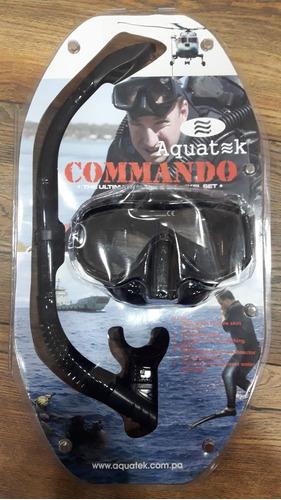 snorkel y gafa de buceo aquatek comando