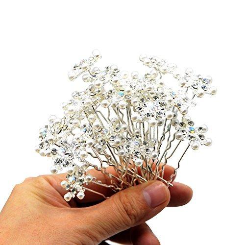 snowflake horquilla - en forma de u rhinestone perla de pel