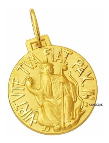 são bento medalha dupla face tradicional 34mm ouro 18k k800