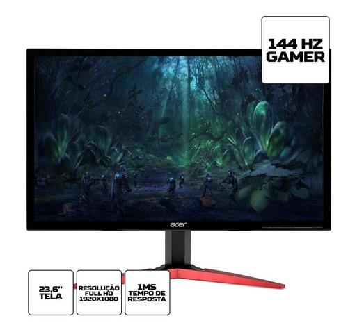 só hoje! monitor gamer acer kg fullhd 144hz 1ms hdmi
