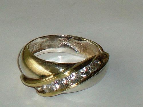 soberbo anel em prata-de-lei/vermeil/zircônias,itália,déc.70