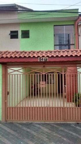 sobrado 98 m² de área útil, 3 dormitórios (1 suíte), 2 vagas no jardim progresso em santo andré. - so0185