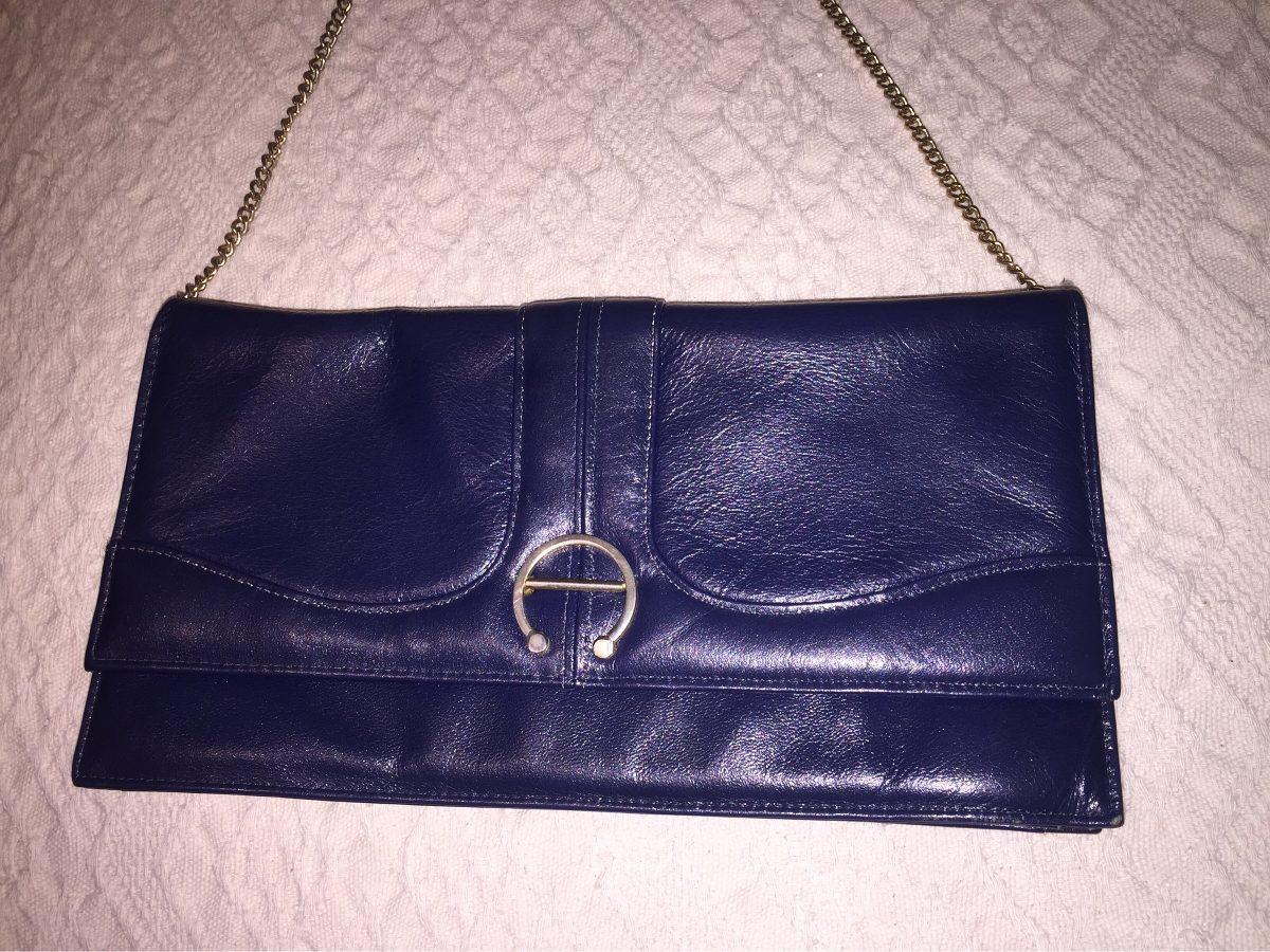 2bc268105 Sobre / Cartera Vintage De Cuero Azul - $ 450,00 en Mercado Libre