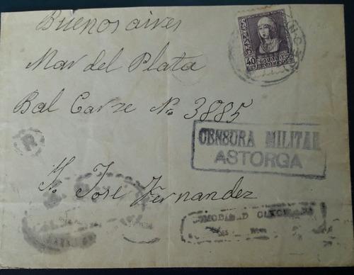 sobre circulado censura militar astorga españa  año 1939
