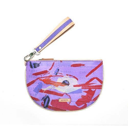 sobre clutch modesta® - reciclado - único - violeta