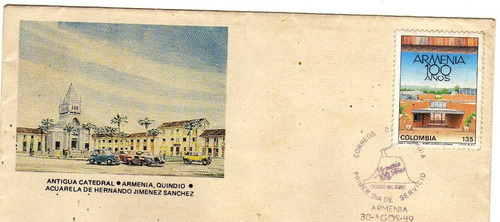 sobre de carta primer dia.armenia 100 años.