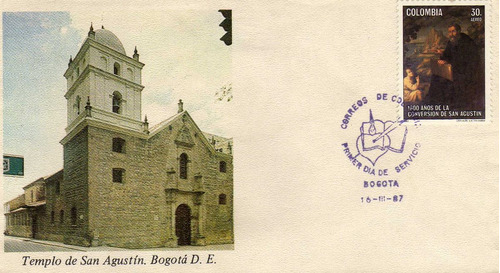 sobre de carta primer dia.templo san agustin.