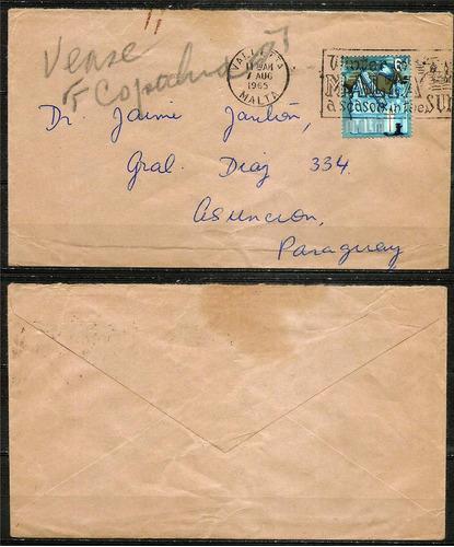 sobre de malta (valletta) a asunción paraguay -7-08-1965