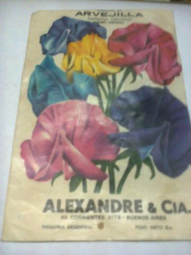 sobre de semilla de  arvejilla 1974
