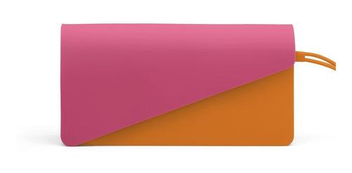 sobre de silicona imantado bicolor con correa clutch gato