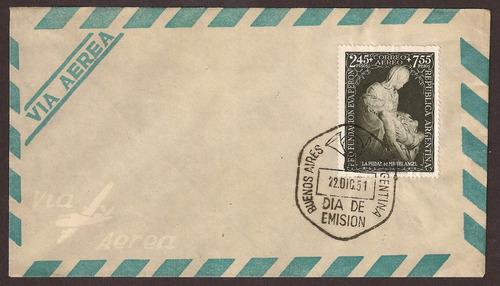 sobre día de emisión sello fundación eva perón, 1951