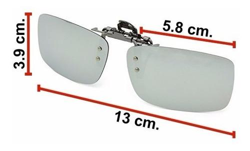 sobre lentes de sol clip polarizados azul y tornasol uv 400