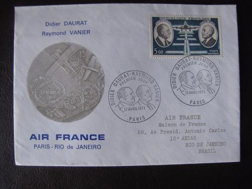sobres estampillas viaje air france concorde paris-rio 1976