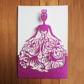 Sobres Invitaciones Xv Años Glitter Rosa Con Corte Laser