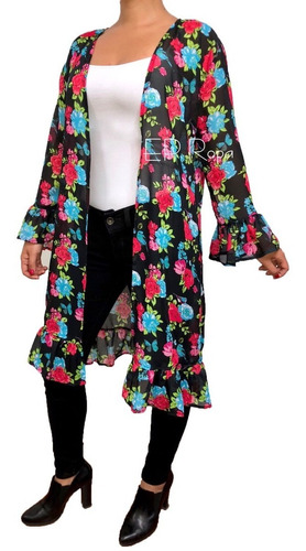 sobretodo kimono largo boleros flores cardigan mujer juvenil