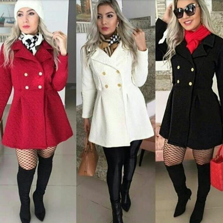 3b0e19c362 Sobretudo Casaco Feminino Jacquard Moda Inverno Roupas - R  99