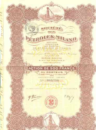 societe des petróles milano - 1920