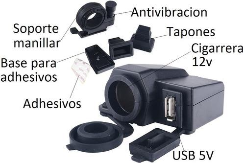 socket cargador celular moto 12v 5v cigarrera usb innovall