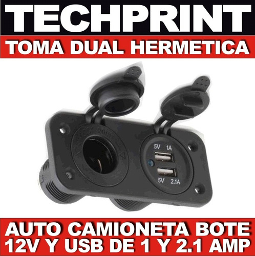 socket puerto dual 12v y usb hermetico auto camioneta 4x4
