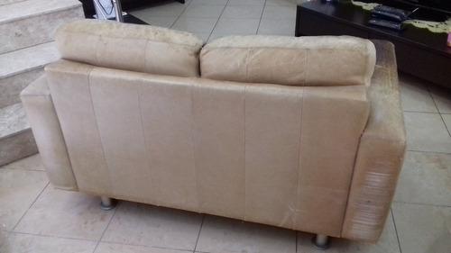 sofá 2 e 3 lugares em couro marrom natural - marca holfenz