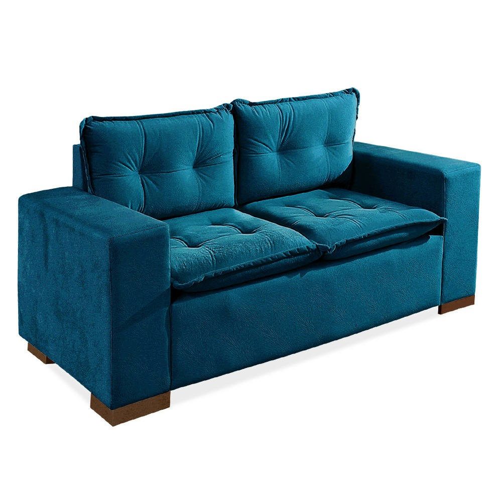 Sof 2 lugares azul turquesa braga r em - Sofa azul turquesa ...