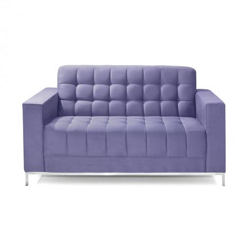 sofá 2 lugares em veludo liso 150cm classic império ei