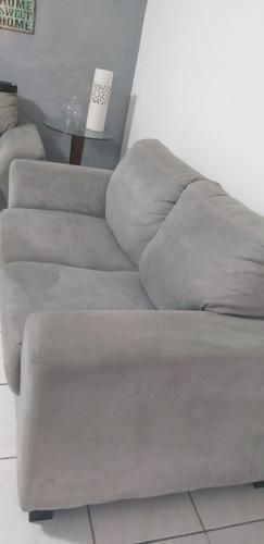sofá 2 lugares suede cinza