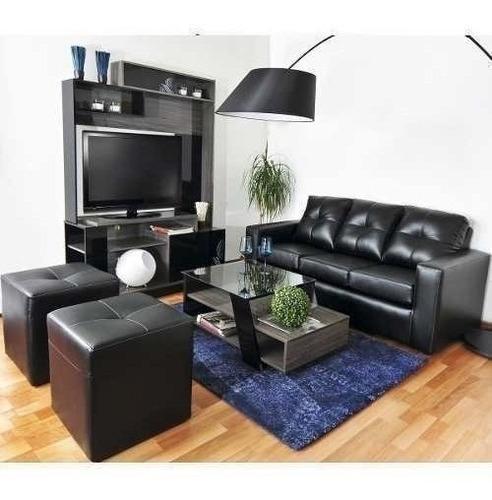 sofá 3 cuerpos con 2 pouf cuero pu café / muebles américa